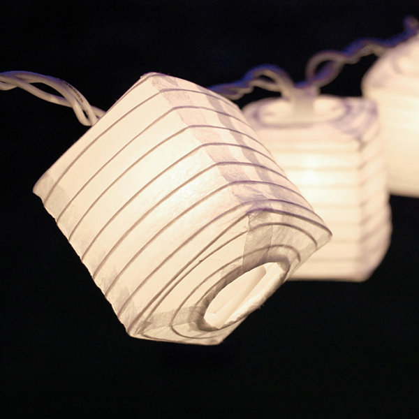 "Electric String Light with 2.5"" Square Nylon Lanterns (Set of 10)"""
