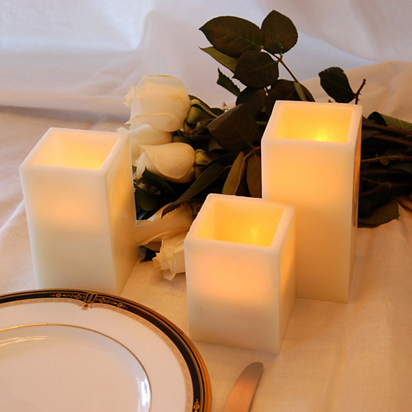 Battery Operated LED Candles with Remote Control- Square (Set of 3)