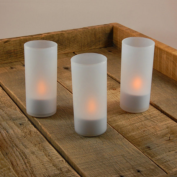 Rechargeable LED Tea Light Candles with Frosted Holders (Set of 6)