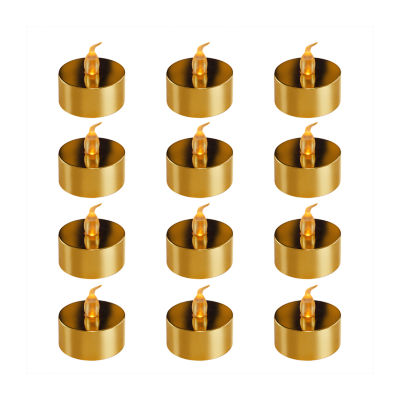 Battery Operated Gold Plated LED Tea Lights (Set of 12)