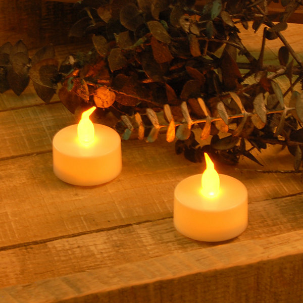 Battery Operated Amber LED Tea Lights (Set of 24)