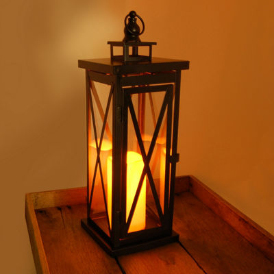 Metal Lantern - Criss Cross with Battery OperatedLED Candle