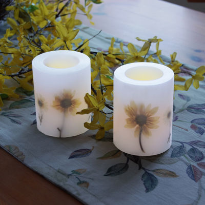 Battery Operated LED Candles - Dried Flowers (Set of 2)