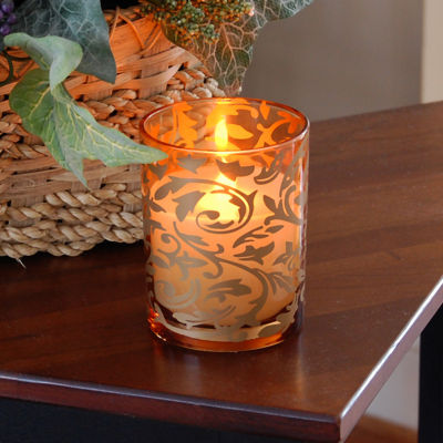 Glass LED Candles- Jacquard Design (Set of 2)