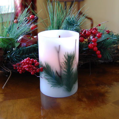 Battery Operated LED Candles- Pine Needle (Set of 2)