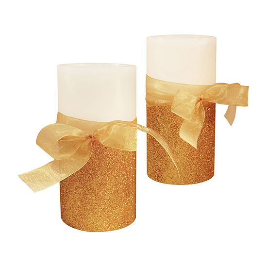 Battery Operated LED Candles- Gold Bow (Set of 2)