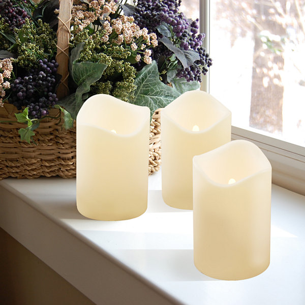 Battery Operated LED Pillar Candles- Amber (Set of 3)