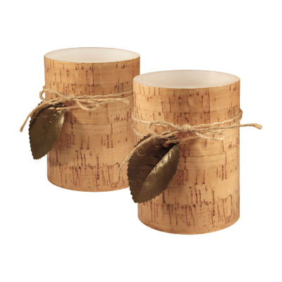 Battery Operated LED Candles- Cork with Leaf (Set of 2)