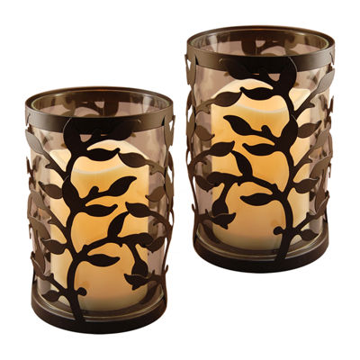 Metal Lanterns with Battery Operated Candles RoundVine (Set of 2)