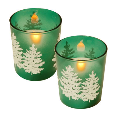 Glass LED Candles - Green Pines (Set of 2)