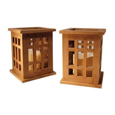 Wooden Lanterns with Battery Operated Candles (Setof 2)