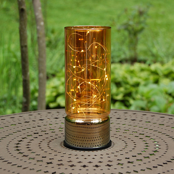 Glass Lantern with Mini String Lights