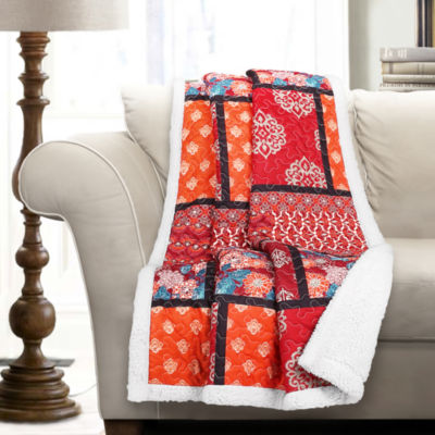 Lush Décor Meridian Sherpa Throw Red