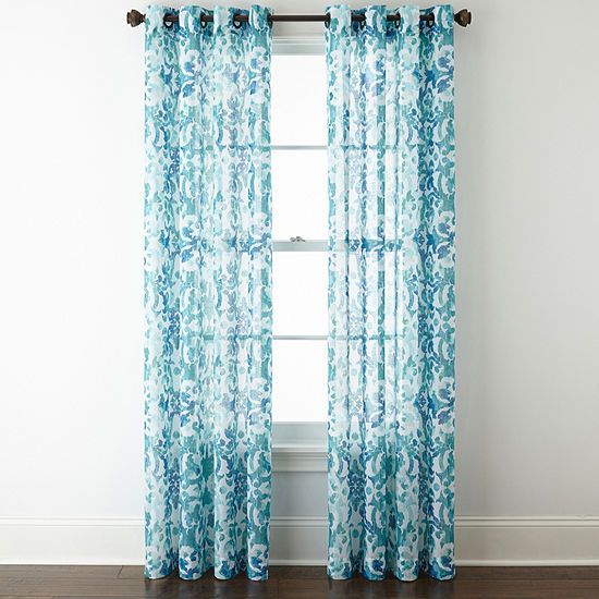 JCPenney Home Batiste Tile Medallion Grommet-Top Sheer Curtain Panel