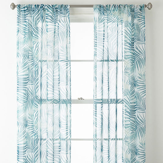 Home Expressions Palm Leaf 2pk Sheer Rod-Pocket Set of 2 Curtain Panel