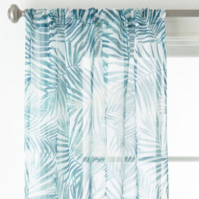 Home Expressions Palm Leaf 2pk Rod-Pocket Sheer Curtain Panel