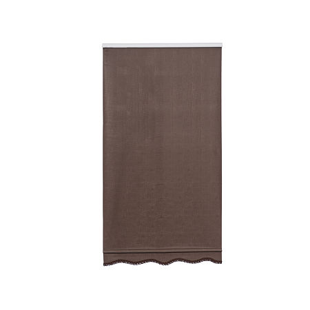 JCPenney Home Paige Cut-to-Width Cordless Blackout Fringed Roller Shade, One Size , Brown