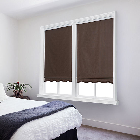 JCPenney Home Paige Cut-to-Width Cordless Blackout Fringed Roller Shade