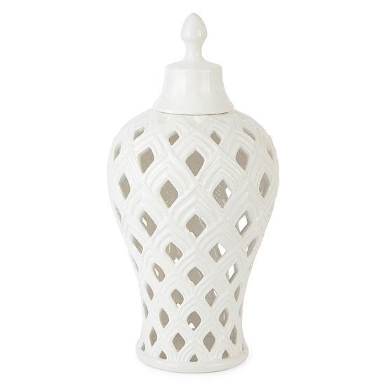 """JCPenney Home 15"""" White Ceramic Vase"""
