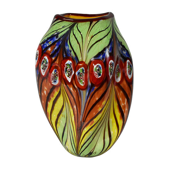 Dale Tiffany Peacock Feather Art Glass Vase