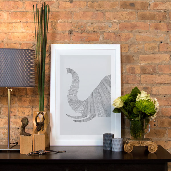 Elephant on Grey by Florent Bodart White Framed Fine Art Paper Print