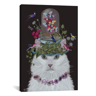 Cat With Butterfly Bell Jar III by Fab Funky Canvas Print