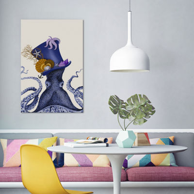 Octopus Nautical Hat by Fab Funky Canvas Print