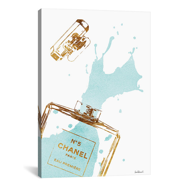 Gold Perfume Bottle With Teal Splash by Amanda Greenwood Canvas Print