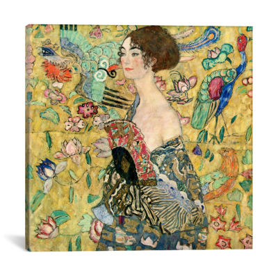 Lady with a Fan by Gustav Klimt Canvas Print