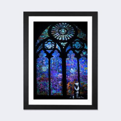 Stained Glass Window II by Banksy Black Framed Fine Art Paper Print