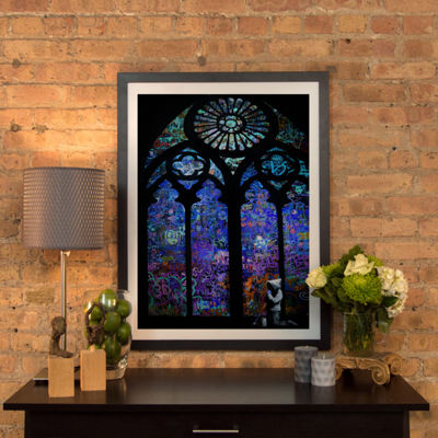 Stained Glass Window II by Banksy Black Framed Fine Art Paper Print