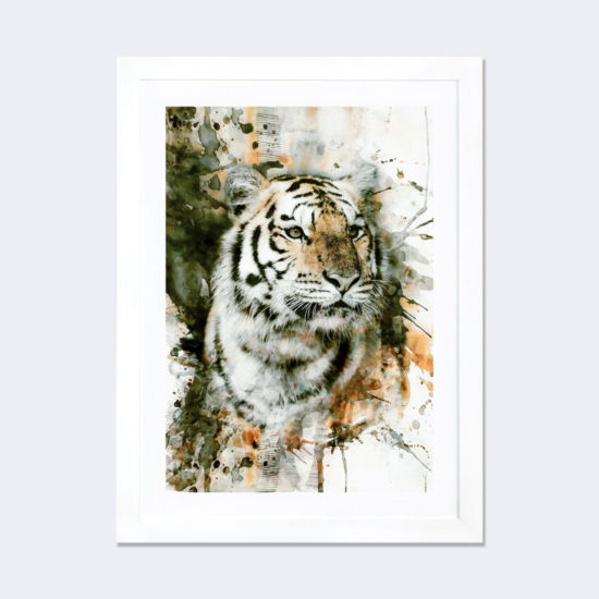 Tiger I by Riza Peker White Framed Fine Art PaperPrint