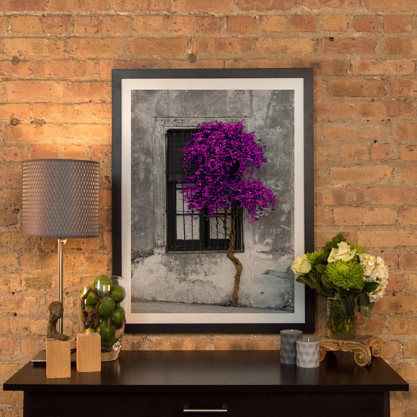 Tree in Front of Window Purple Pop Color Pop by Panoramic Images Black Framed Fine Art Paper Print