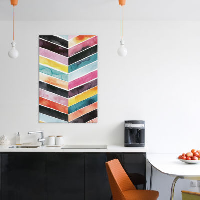 Vivid Watercolor Chevron II by Grace Popp Canvas Print