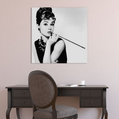 Audrey Hepburn Smoking by Radio Days Canvas Print