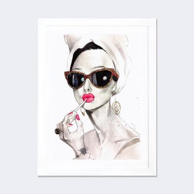 Audrey Hepburn by Rongrong DeVoe White Framed FineArt Paper Print