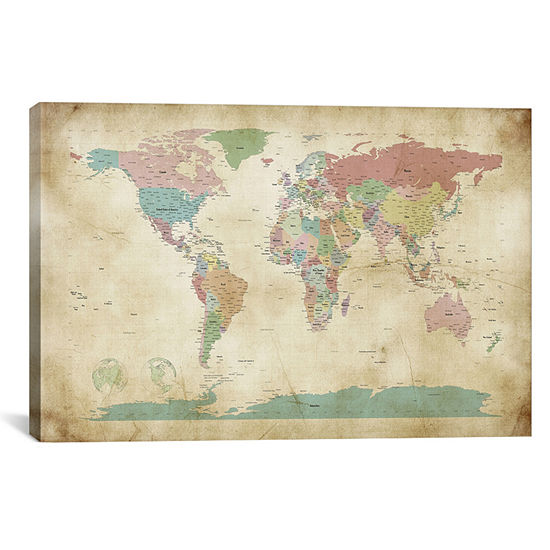 World Cities Map by Michael Tompsett Canvas Print