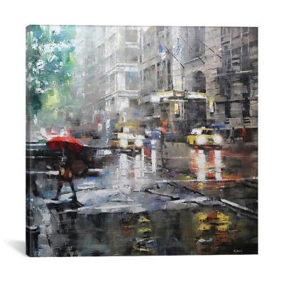 Manhattan Red Umbrella by Mark Lague Canvas Print