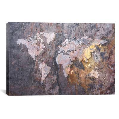 World Map on Stone Background by Michael TompsettCanvas Print