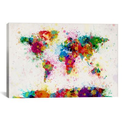 World Map Paint Drops III by Michael Tompsett Canvas Print