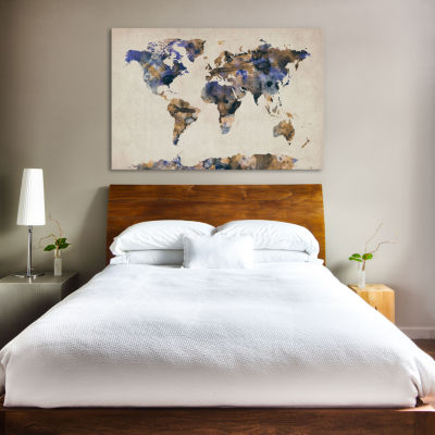 Urban Watercolor World Map V by Michael Tompsett Canvas Print