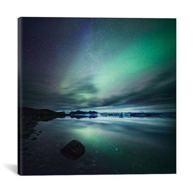Aurora Borealis (Northern Lights) Over Glacial Lagoon; Iceland by Matteo Colombo Canvas Print