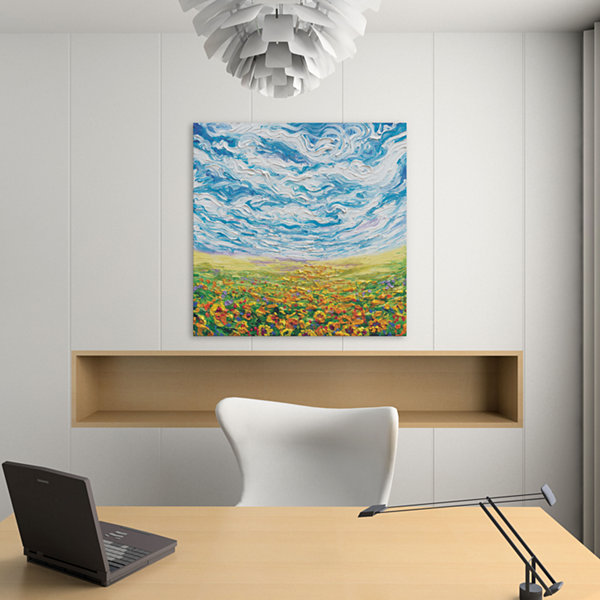 Big Sky; Small Sunflowers by Iris Scott Canvas Print