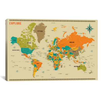 New World Map by Jazzberry Blue Canvas Print