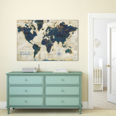 World Map Collage by Sue Schlabach Canvas Print