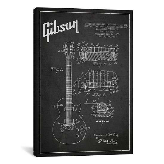 Gibson Guitar Charcoal Patent Blueprint by Aged Pixel Canvas Print