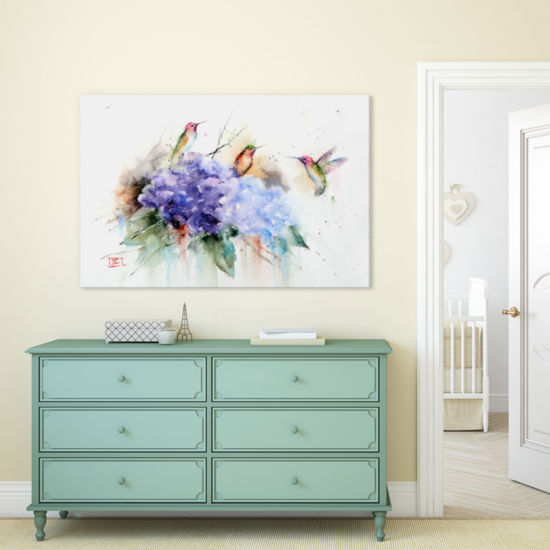 Three Hummingbirds by Dean Crouser Canvas Print