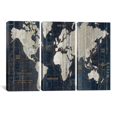 Old World Map Blue by Wild Apple Portfolio CanvasPrint