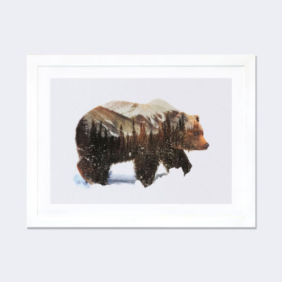 Arctic Grizzly Bear by Andreas Lie White Framed Fine Art Paper Print