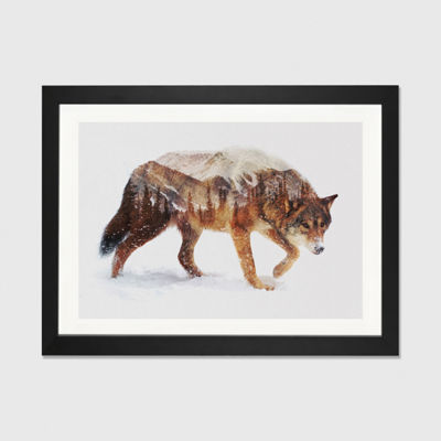 Arctic Wolf by Andreas Lie Black Framed Fine Art Paper Print